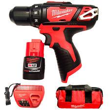 "Brand New Milwaukee Cordless Drill/Driver 2407-20 12V M12 Li-Ion 3/8"" Kit"