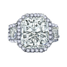 Moissanite Diamond Engagement Halo Silver Ring 4.14 Ct Radiant Cut Near White