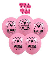 15 X Hen Party Caution Balloons Pink Printed Chick Night Out ideal Accessories