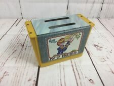 Vintage Metal Tin Toy Toaster Pop Up Toaster Boy Girl On Swing Looks Great