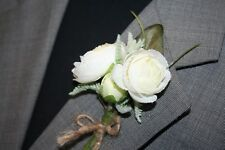 Rustic White Flowers Boutonniere, Wedding Accessories, Prom