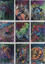 MARVEL UNIVERSE SERIES 5 1994 FLEER RAINBOW POWERBLAST INSERT CARD SET (9)