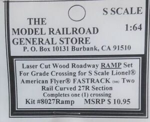 S Scale RR Crossing for Lionel(American Flyer) 27R 2-rail Curved Fastrack system