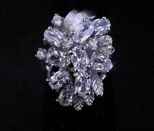 18K Platinum Zircon Crystal Ring Size 5.25 ~Ships FREE to US R254