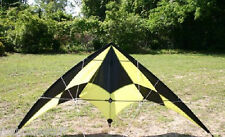 "70"" DUAL LINE BLACK & YELLOW SPORT NYLON STUNT KITE 70 INCH WITH LINES & HANDLES"
