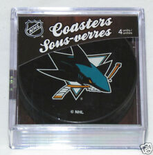 SAN JOSE SHARKS Hockey TEAM LOGO 4 COASTERS SET NEW Made from Actual Puck NHL