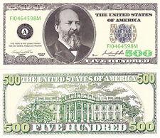 10 - $500 Casino Style Funny Money Novelty Money Bills Lot James Garfield #226