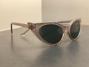 Vintage 1960's Cat Eye Sunglassss Striped black /white Glass lenses Korea