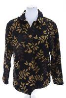 Vtg Coldwater Creek Womens Tapestry Jacket Blazer USA Made Black Brown Sz Medium