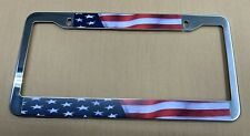 Usa Us American Flag Mirror Chrome Finish Metal License Plate Frame New Patroit
