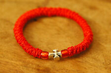 Elastic Orthodox Chotki Bracelet Prayer Rope Komboskini RED - Cross & Red Beads