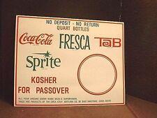 Vintage Coca Cola Fresca Tab Sprite Passover Cardboard Advertising Sign