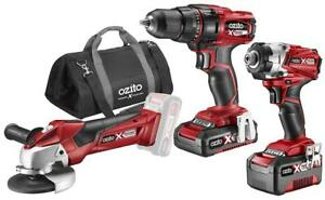 OZITO Power X-Change 18V Cordless Drill Driver, Impact Driver & Angle Grinder
