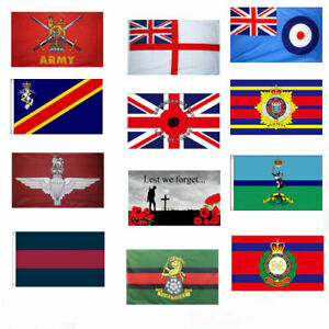 BRITISH MILITARY FLAGS 5' x 3' Army Parachute Regiment REME Armed Forces Day etc