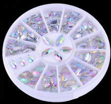 2 Sizes Colorful Nail Art Tips Crystal Glitter Rhinestone Decoration Wheel ^