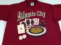 Atlantic City T-Shirt VTG 1994 Adult Medium Cards Roulette Dice Foam Letters USA