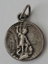 RARE OLD RELIGIOUS MEDAL ST. MICHAEL THE ARCHANGEL & ST. JOAN OF ARC