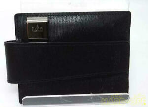 Gucci Men's Black Signature Leather Card Case Card With Money Clip from Japan