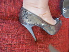 NEW ASOS SILVER SEQUIN PEEP TOE 5 CRUISE CHRISTMAS PARTY HOLIDAY SHOES  WEDDING