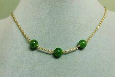 Goldkette 333er Gelbgold mit Russisch Jade, Jadekette, Jade Necklace 8 K