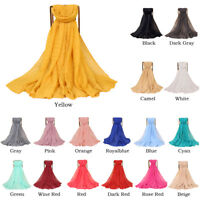Muslim Women Scarves Scarf Wrap Maxi Hijab Long Headwear Cotton Linen Shawl Soft