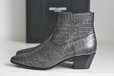NIB Auth YSL Saint Laurent Emboss Croc Wyatt Chelsea Booties Boot Shoes 9 / 39
