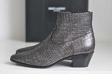 NIB Auth YSL Saint Laurent Emboss Croc Wyatt Chelsea Booties Boot Shoes 5 / 35