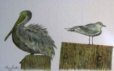 PELICAN AND GULL - US,small, art reproduction, artist, ink, realism, birds