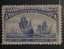 Travelstamps: 1893 Us Stamps Scott #233, Fleet of Columbus, mint, og, hinged