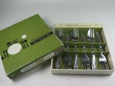 Vintage Set 6 ONEIDA STAINLESS STEEL Pastry Forks Roseanne in Original Box 1960s