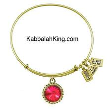 Wind & Fire July Ruby Crystal Birthstone Charm Gold Bangle Bracelet Made In USA