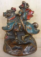 Antique Knight in Armour on Horse Bookend Decorative Art Statue Pompeian Armor