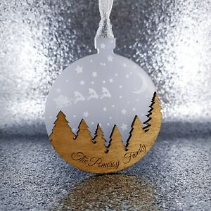 Personalised Christmas Tree Bauble Decoration family gift