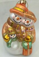 Collectible Christmas Snowman Family Large Glitter Glass Ornament 6.5in x 4.5in