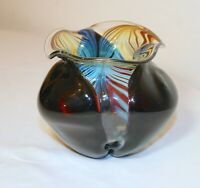 vintage hand blown red iridescent pulled feather signed CH studio glass vase