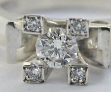18ct White gold diamond ring size N 5.4g with ceritificate H Colour VVS