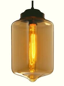 Retro Modern Tea Industrial Pendant Light Ceiling Clear Glass Lamp Shade