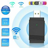 1200Mbps USB 3.0 Wireless WiFi Adapter Dongle Dual PC 5.0 Bluetooth 5G/2.4G W7V7