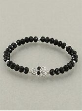 Crystal Skull Bead Stretch Bracelet
