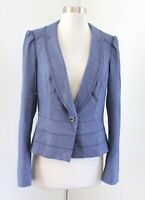 White House Black Market Blue Puff Sleeve One Button Blazer Jacket Peplum Size 8