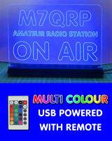 USB MULTI COLOUR RGB LED SHACK SIGN HAM AMATEUR RADIO CALL SIGN ON AIR MIC LIVE