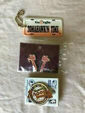 Atlanta Braves Official MLB Pin, Earrings & Souvenir Keychain Trio Baseball New