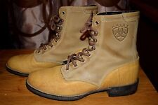 Ariat GS Ankle Lace Up Boots Leather Upper Low Heel Sz 6.5B Medium Tan