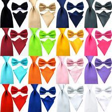 Mens Satin Solid Color Bowtie 8CM Wide Neck Tie Handkerchief Pocket Square Set
