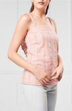 NEW NEXT 10 blush pink silver stripe sleeveless frill back fitted cami vest top