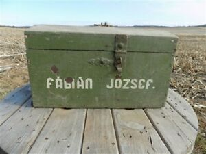 Wooden Immigrant Trunk, Carpenters Chest, Small Crate Box Vintage e,