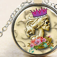 Lolita Day of The Dead, Rockabilly Necklace, Crown Skull, Gothic Burlesque Lady