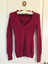 Express Marled Fitted V-Neck Sweater Plum Fuchsia Size XS