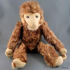 Sonneberg Chimp Jocko Mohair Plush Monkey c1950s Jointed 12in Clear Glass Eyes