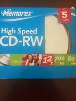 Memorex High Speed CD-RW 12x 700MB Rewritable CD w/Jewel Case 5 Pack